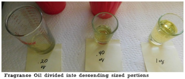 Fragrance Oil Divided into descending-sized portions