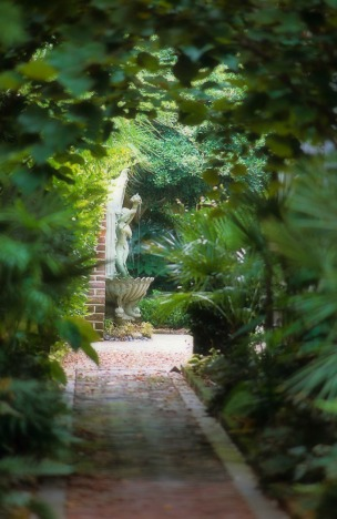 hidden garden with fountain softened